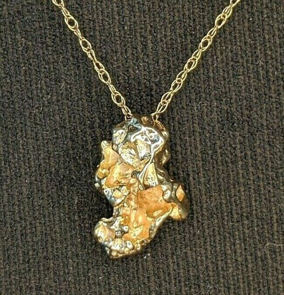 Solid 14k Yellow Gold Nugget Style Pendant w 14k Gold Chain 14k Tested $120.00