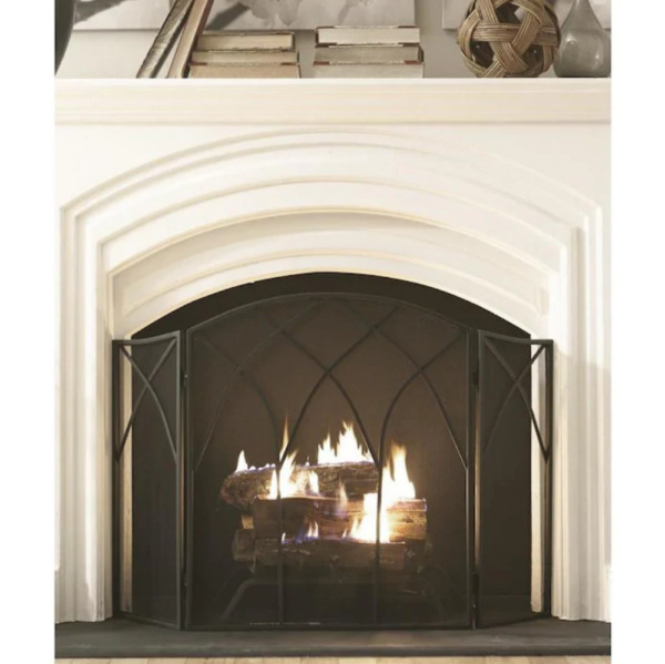 Pleasant Hearth 46.5 in Black Steel 3 Panel Arched Fireplace Screen 633