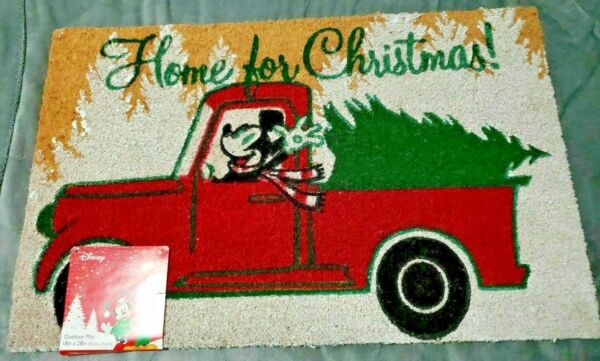 Disney Mickey Mouse HOME FOR CHRISTMAS Red Truck 18quot; x 28quot; Outdoor Door Mat Rug