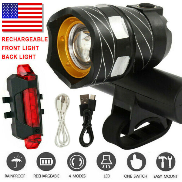 LED MTB Rear Front Set 15000LM Bicycle Lights Bike Headlight USB Rechargeable US $8.59