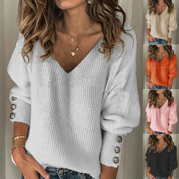 Women Casual Knitted Pullover V Neck Long Sleeve T Shirt Solid Blouse Loose Tops