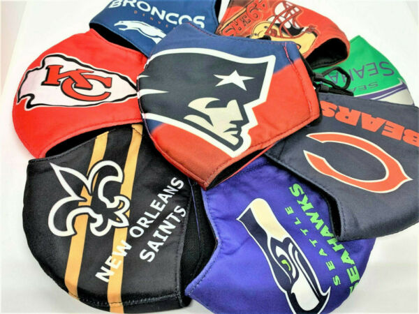 NFL Football Teams 100% cotton face mask adjustable straps thick durable