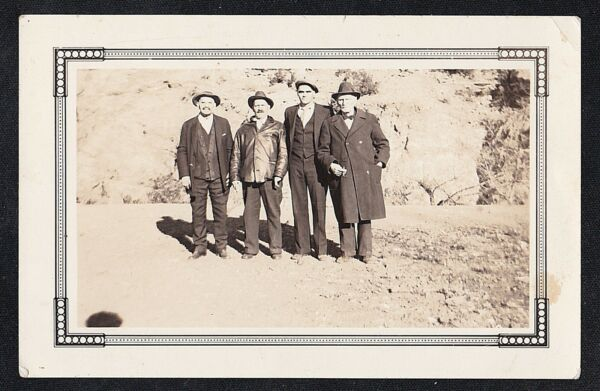 Antique Vintage Photograph Four Older Men Wearing Coats and Hats
