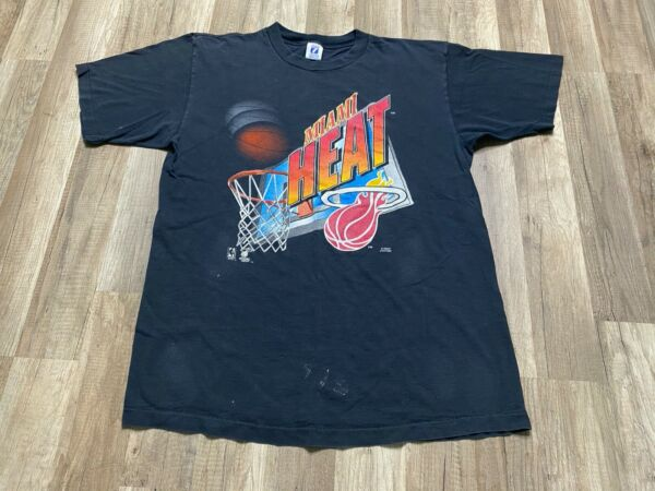 Vintage 1996 NBA Miami Heat 3D Spell Out Old Basketball Net Black Graphic Tee XL $89.00