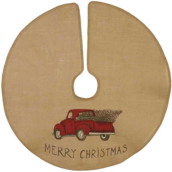 New Rustic MERRY CHRISTMAS VINTAGE RED TRUCK Burlap Tree Skirt 36quot;