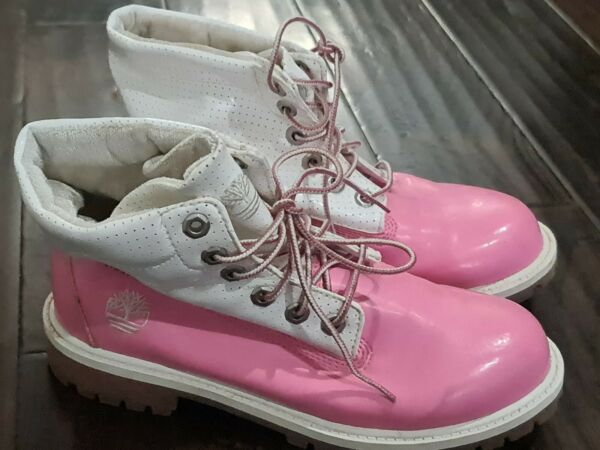 Timberland Pink And White 29949 2940 Boots Women#x27;s Size Lace up 6.5M 6.5 $63.00