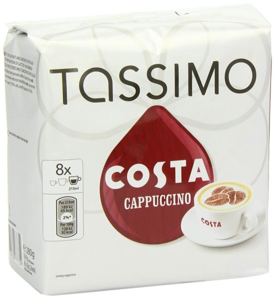 Tassimo Costa Cappuccino T Discs 16 Count Large Cup Size 8 Servings Total