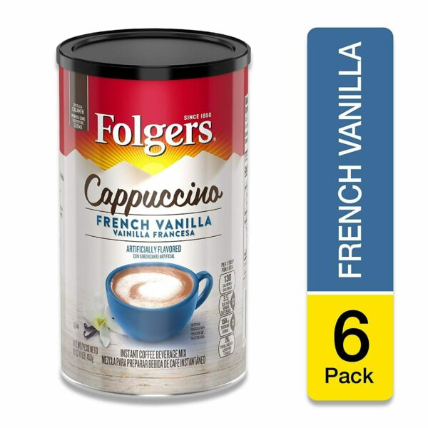 Folgers Cappuccino French Vanilla Instant Beverage Mix 16 Oz Pack of 6 $27.03