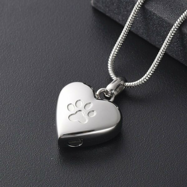 Heart Paw Dog Silver Stainless Steel Cremation Urn Pendant Necklace $14.00