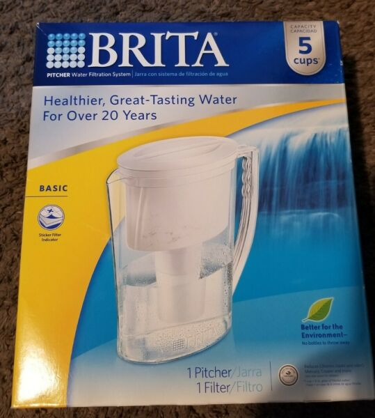 BRITA Water Filtration System PITCHER Size: 5 Cups NEW Slim 1 Filter SHIP FREE