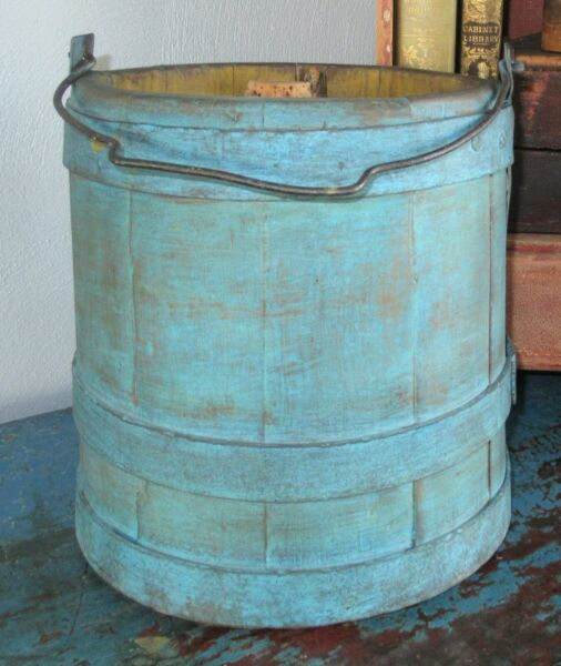Firkin Wood Sugar Bucket Shaker Pantry Box Blue Paint Bail Handle Heavy Keg