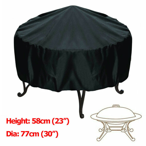 30 inch Patio Round Fire Pit Cover Waterproof UV Protector Grill BBQ Cover Black $13.99