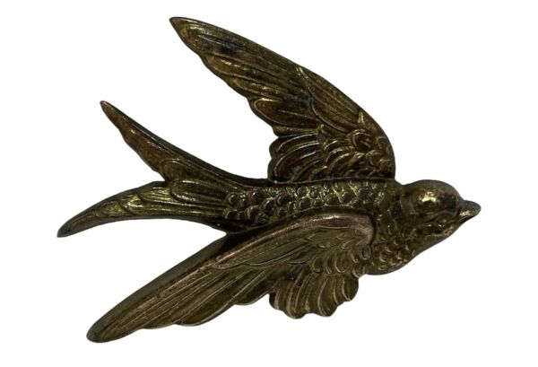 Vintage Brass Bird Pigeon Dove Wall Hanging Figure Decor Cabin Man Cave Hunting