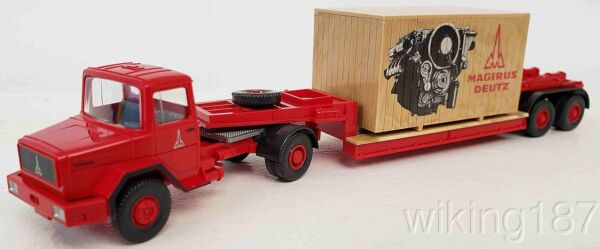 Wiking NEW HO Scale Magirus Articulated Tractor Trailer Truck W Large Crate Load