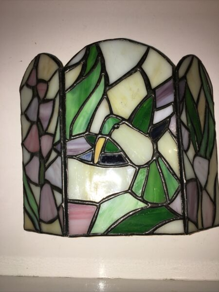 Tiffany Style Stained Glass Table Top Fireplace Screen Decor Hummingbird