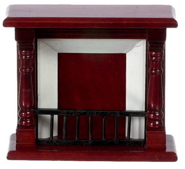 Dollhouse Miniature Fireplace in Mahogany by Town Square Miniatures