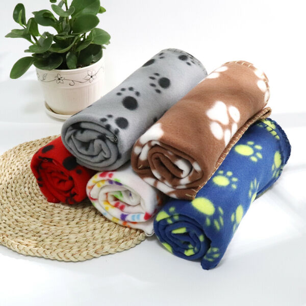 Dog Blankets Washable Fleece for Couch Sofa Puppy Cat Pet Cute Paw Throw Blanket $6.99