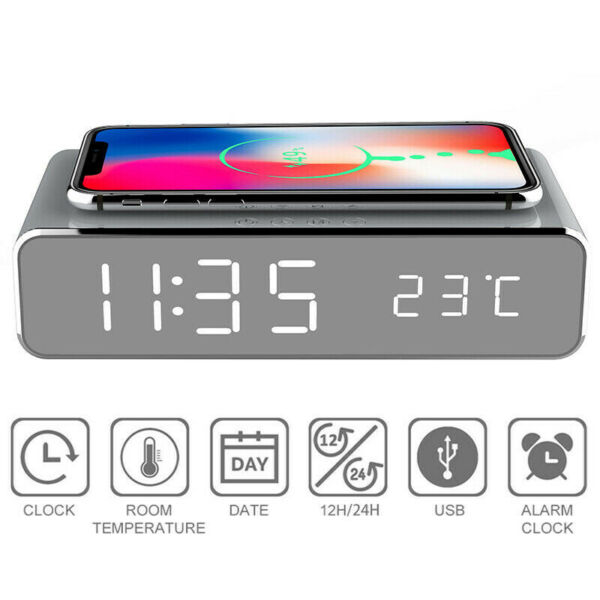 LED Wireless Electric Home Alarm Phone Charger HD Digital Thermometer Time Clock $13.79