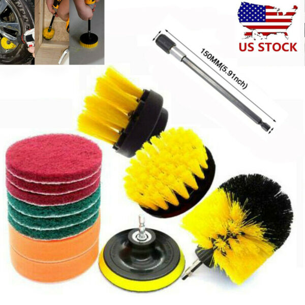 12PCS Drill Brushes Set Power Scrubber Cleaning Accessory For Carpet Tile Grout