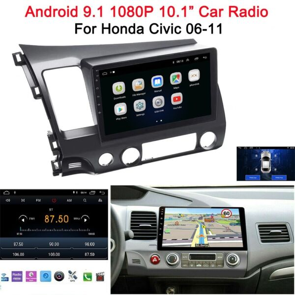 For Honda Civic 2006 2011 10.1quot; Android 9.1 Car Radio Stereo MP5 GPS Wifi MA2366