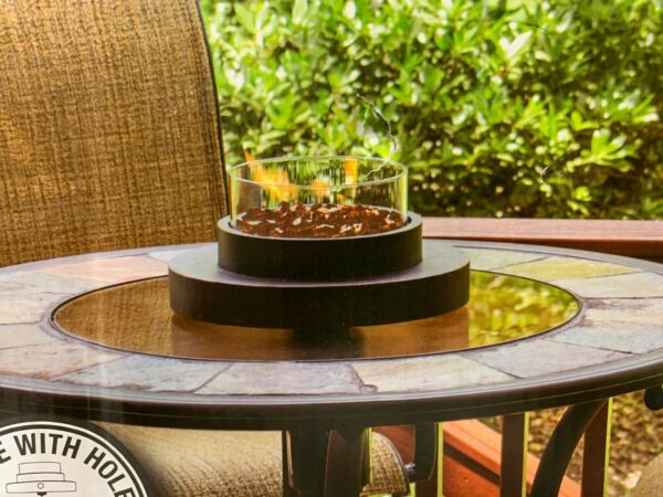 Endless Summer Round Table Top Outdoor Fireplace Glass Table 14quot; Fireplace