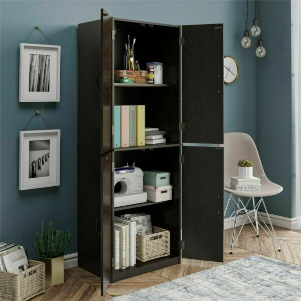 Kitchen Pantry Storage Cabinet Organizer Wood Tall ShelvesBlack Dark Chocolate