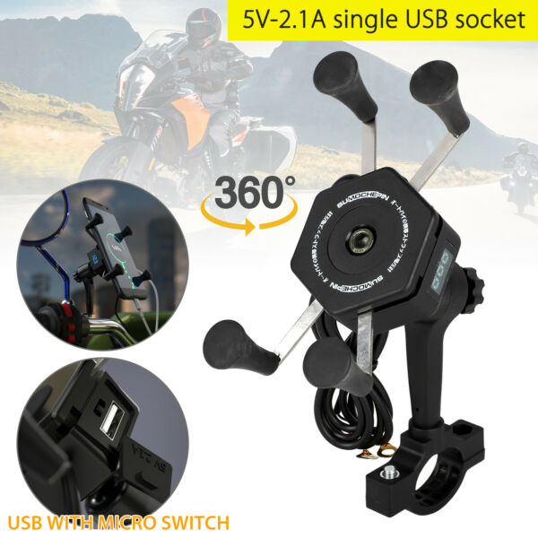 2In1 Motorcycle Bicycle Handlebar Bike Mount Holder Charger for Cell Phone GPS $13.98