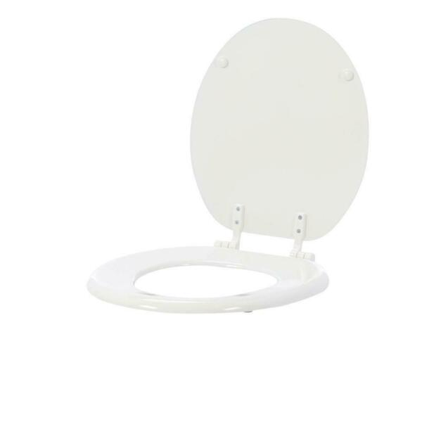Front Round Closed Standard Replacement Wood Seat Hinges Gloss White TOILET SEAT