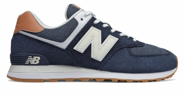 New Balance Men#x27;s 574 Shoes Navy with Brown