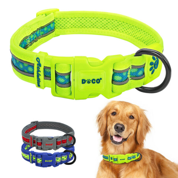 Safety Reflective Pet Dog Collars Mesh Padded for Small Medium Large Dogs Yellow $13.99