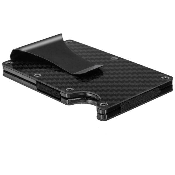 Compact Carbon Fiber Credit Card Holder RFID Blocking Metal Wallets Money Clip