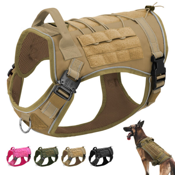 Indestructible Military Tactical Dog Harness for Training Police Dogs Molle Vest $33.99