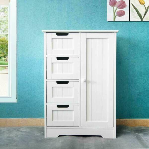 Drawer Dresser Chest Clothes Storage Modern Bedroom Cabinet Wood White $75.89