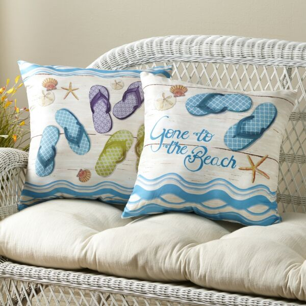Flip Flop Accent Pillows with Beachy Print for Couches and Beds Set of 2
