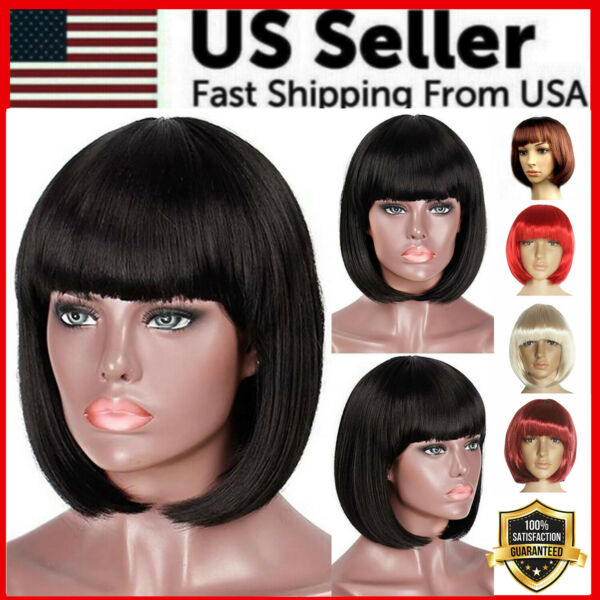 Lady Girl Bob Wig Women#x27;s Short Straight Bangs Full Hair Wigs Cosplay Party New