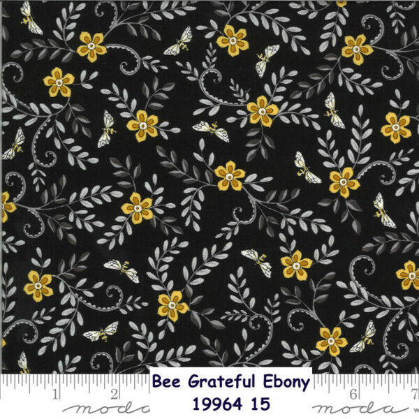 MODA BEE Grateful flowers Bees 100% cotton fabric by the yard Ebony 19964 15