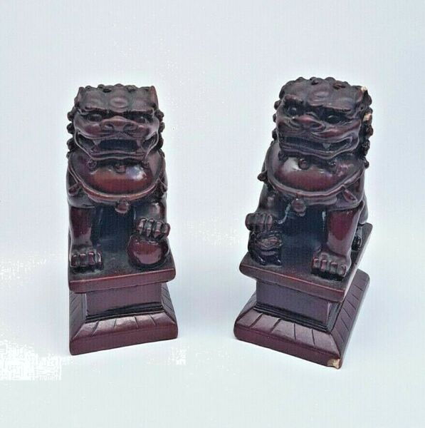 Pair of 2 Vintage Chinese Dogs Cinnabar Resin Figurines Guardian Lion Dogs Red $59.00