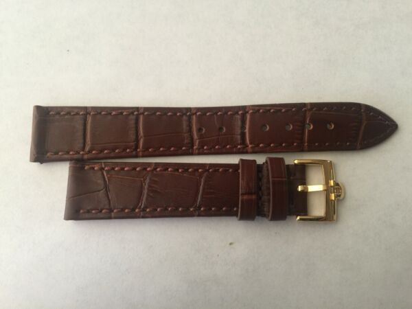 18mm Brown Leather Band with Yellow Gold Buckle For Omega Watch $49.50