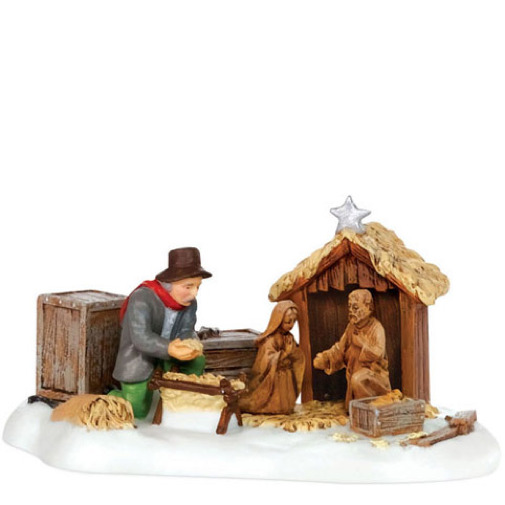 Dept 56 New England Village SETTING UP THE NATIVITY 807247 DEALER STOCK NEW