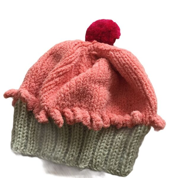 Baby Cupcake Beanie Hand Knit HAT Toddler chenille cotton ice cream red melon