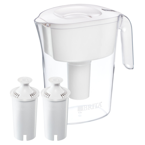 BRITA LAKE MODEL 10 CUP WHITE PITCHER WITH FILTER AUTOFILL LID WITH 2 FILTERS