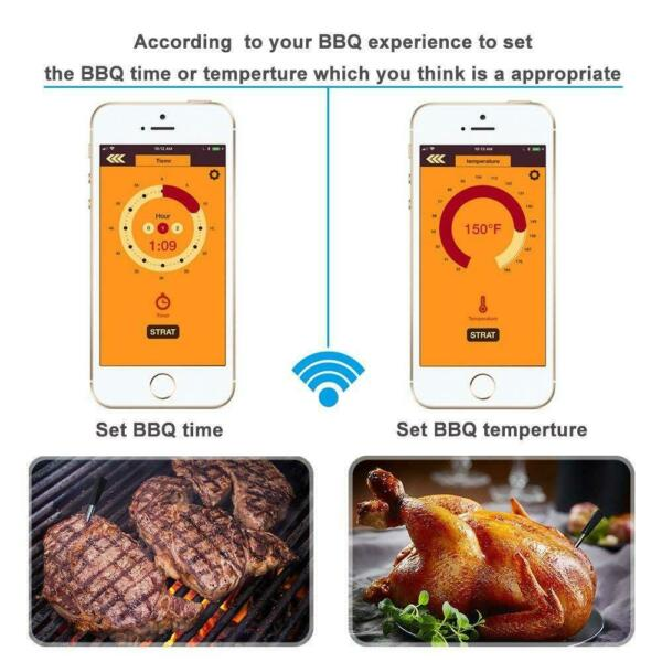 Wireless Meat Food Steak Thermometer For Oven Grill BBQ Smoker Rotisserie Kitche