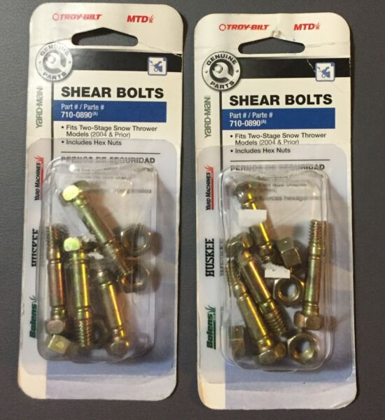 Lot Of 2 Snow Thrower Shear Bolts 8 bolts amp; nuts Craftsman 88289 MTD 710 0890A