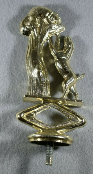 Vintage Metal Dog Trophy Topper Dog Chasing Raccoon Up Tree New Old Stock $3.39