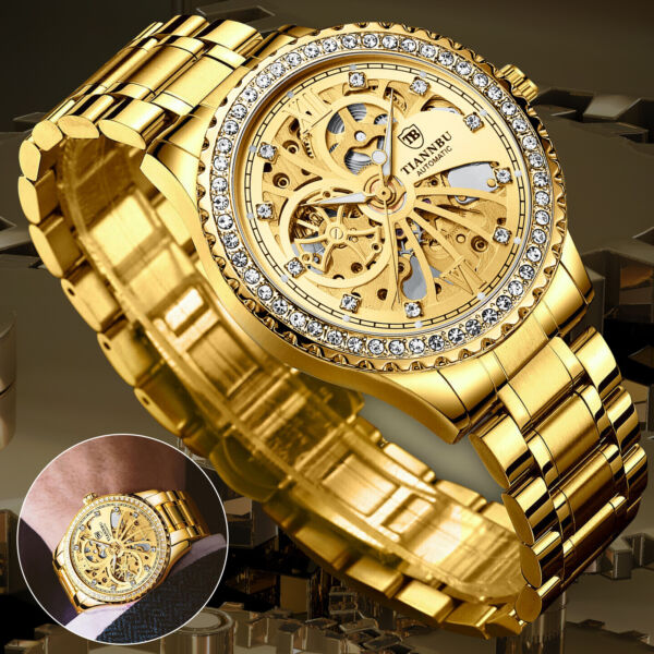 Men#x27;s Automatic Mechanical Gold Black Dial Skeleton Stainless Steel Wrist Watch $21.98