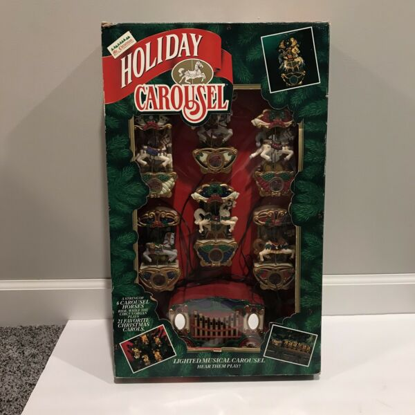 Vintage Mr Christmas Holiday Carousel Light Musical 6 Horses Circus Organ 1992