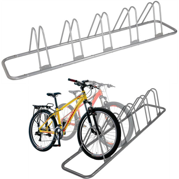 5 Bike Floor Parking Rack Bicycle Storage Stand Nook Garage Ground Stable Holder $48.99