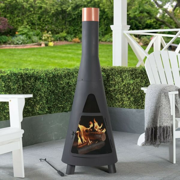 Metal Fire Pits Outdoor Heater with Copper Ring Top Wood Burning Steel Chiminea