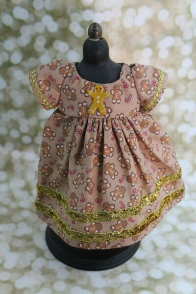 Gingerbread Print Doll Dress for Dianna Effner Dolls And Other 13quot; Dolls