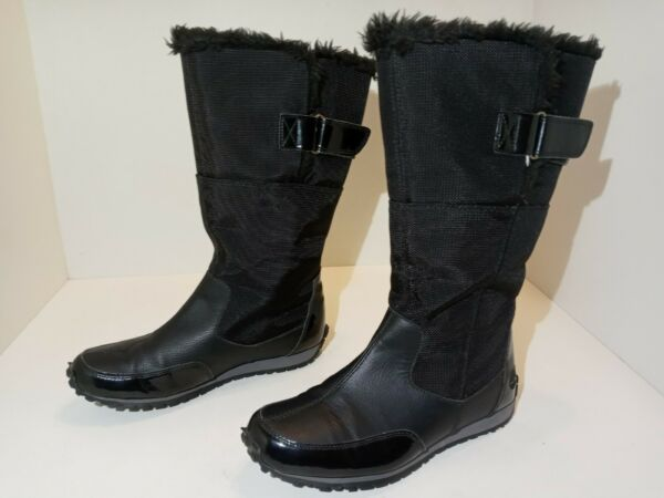 Timberland Winter Boots Black Leather Synthetic upper Faux Fur Women#x27;s Size 8 M $44.99